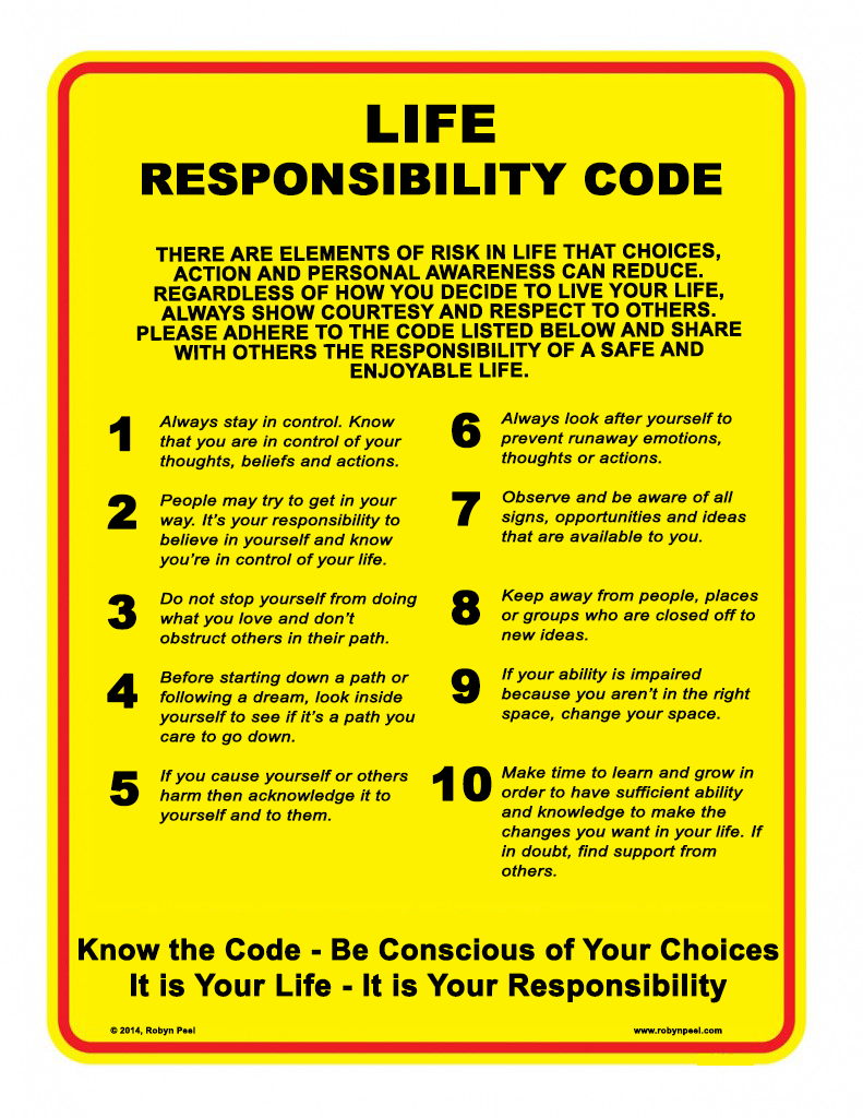 Responsibility code for life
